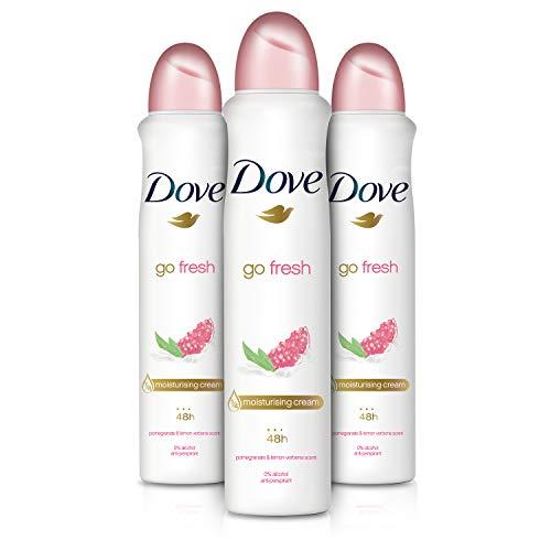 3 Desodorantes antitranspirante Dove Go Fresh con fragancia a granada y verbena (3x250ml) por sólo 6,90€.