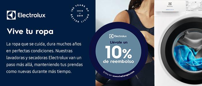 Llévate un 10% de reembolso con lavadora/secadora Electrolux
