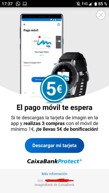 Consigue 5€ solo por realizar 3 compras de mínimo 1€! (Clientes ImaginBank)