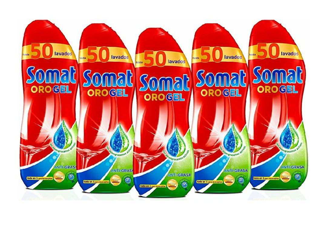 5 botes de 50 lavados Somat oro gel