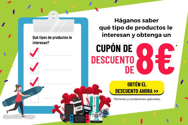 Obtén un Cupón de Descuento de 8€ en 5 Segundos!