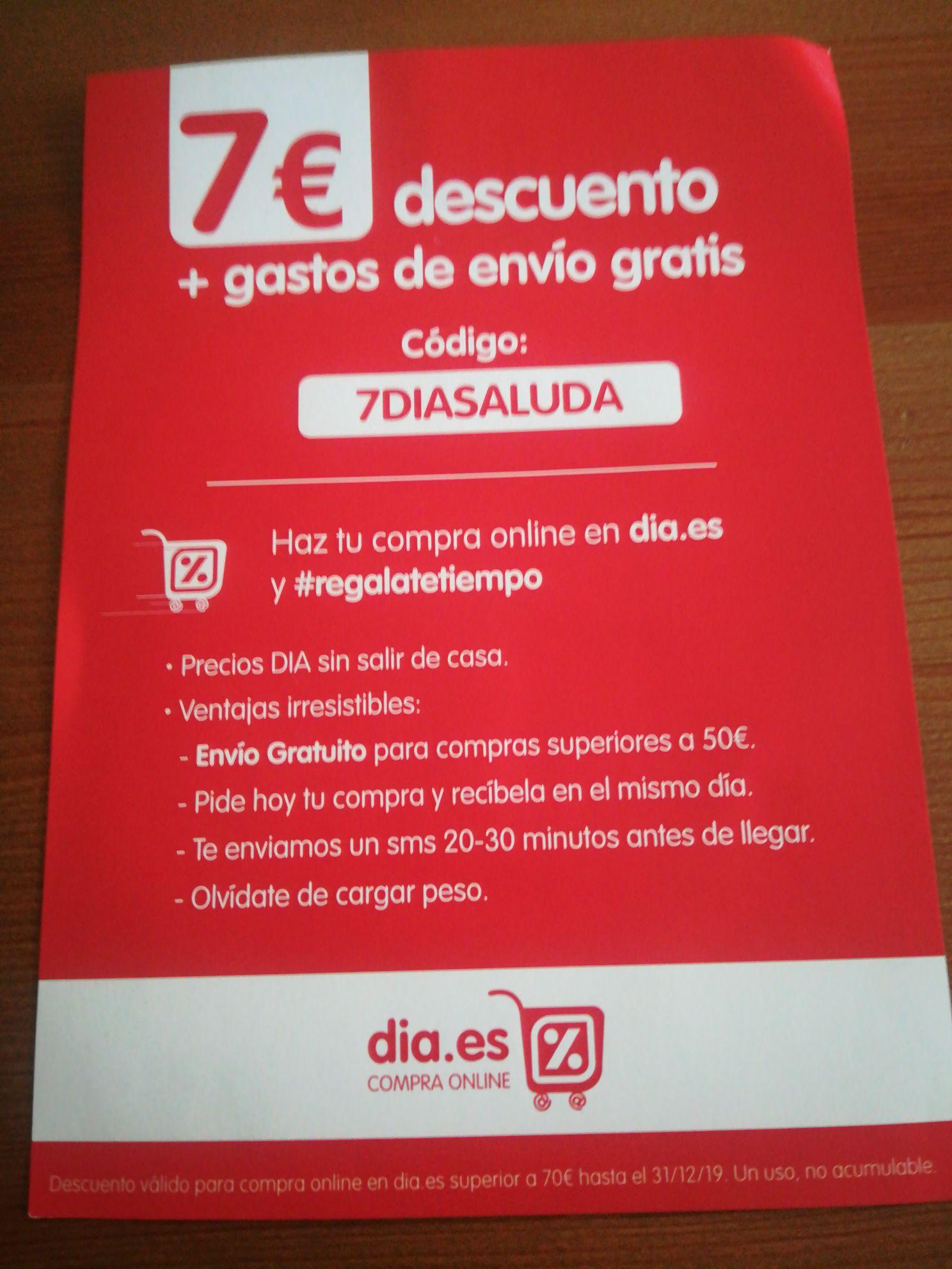 7€ de descuento en DIA (Mínimo 70€)