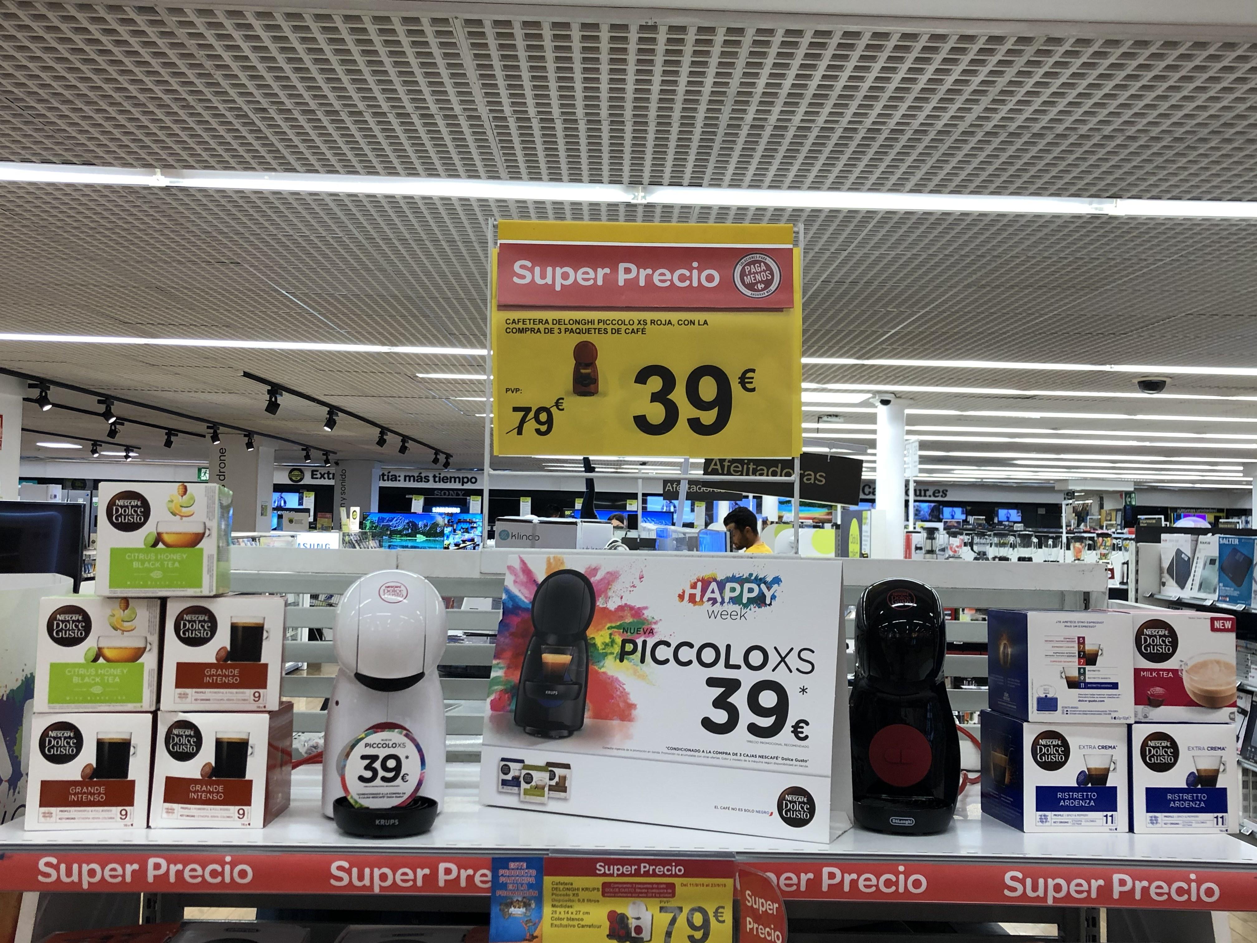 Cafetera Piccolo por 39€ con la compra de 3 paquetes de café (Carrefour Cartagena)