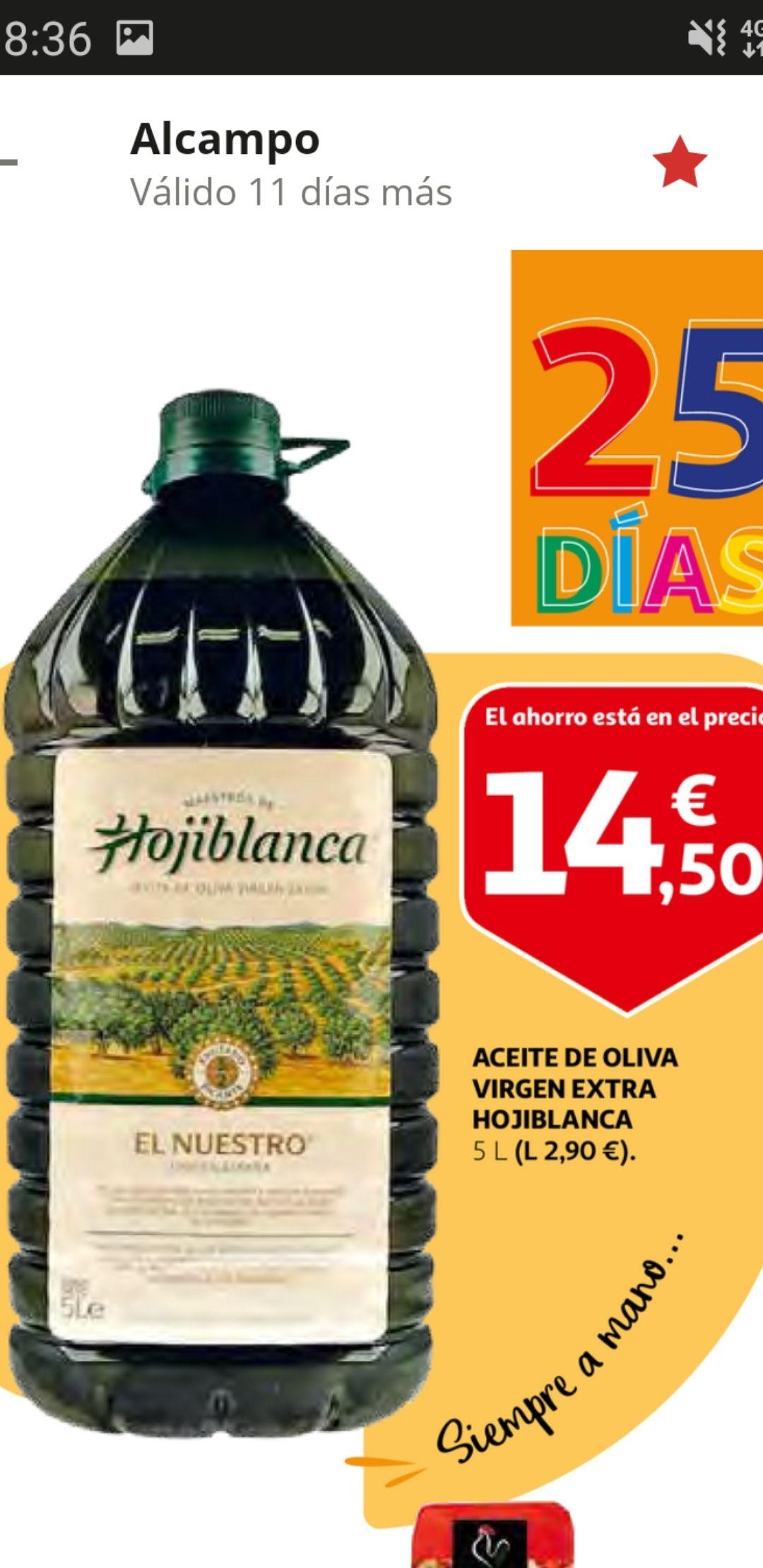 Aceite de oliva virgen extra HOJIBLANCA garrafa de 5 l.