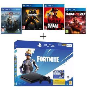 PS4 500 Go + God of War + Call Of Duty Black Ops 4 + Red Dead Redemption 2 + NBA 2K20 + Voucher Fortnite