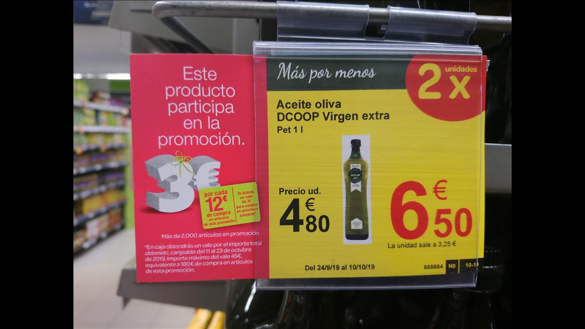 Aceite de oliva virgen extra DCOOP a 2,5 - 2,67 euros litro