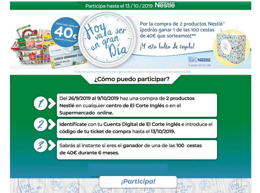 Bolsa de regalo por la compra de 2 artículos de Nestle + Sorteo cestas 40 euros durante 6 meses +