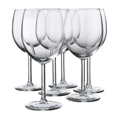 Ikea Copa de Vino Tinto, Blanco, 25x19x17 cm, 6 Unidades
