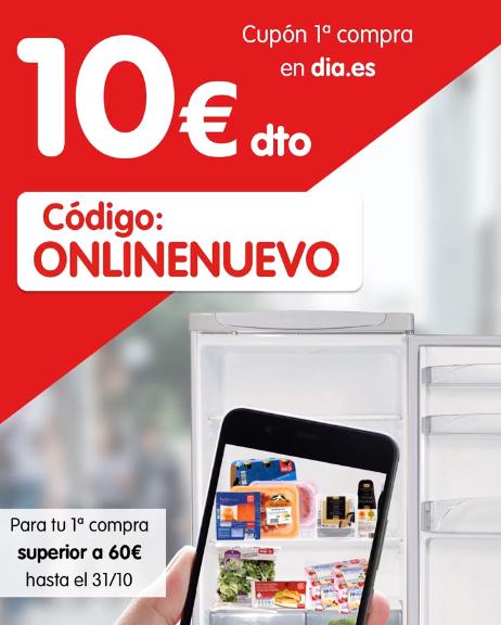 10€ de descuento primera compra dia.es (mínimo 60€)