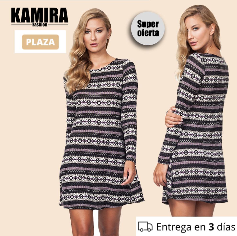 (-72%) KAMIRA Vestido Corto Mangas Largas con Estampado - Moda Mujer