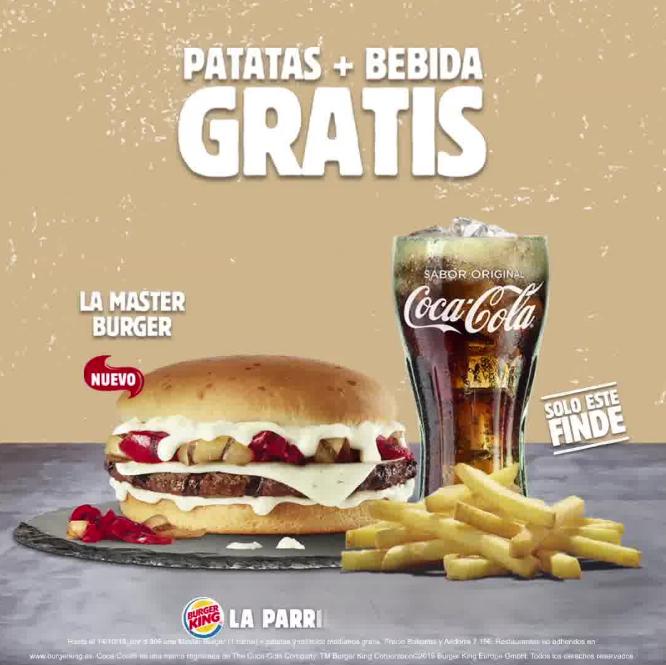 Patatas + bebida gratis pidiendo master burger (burger King)