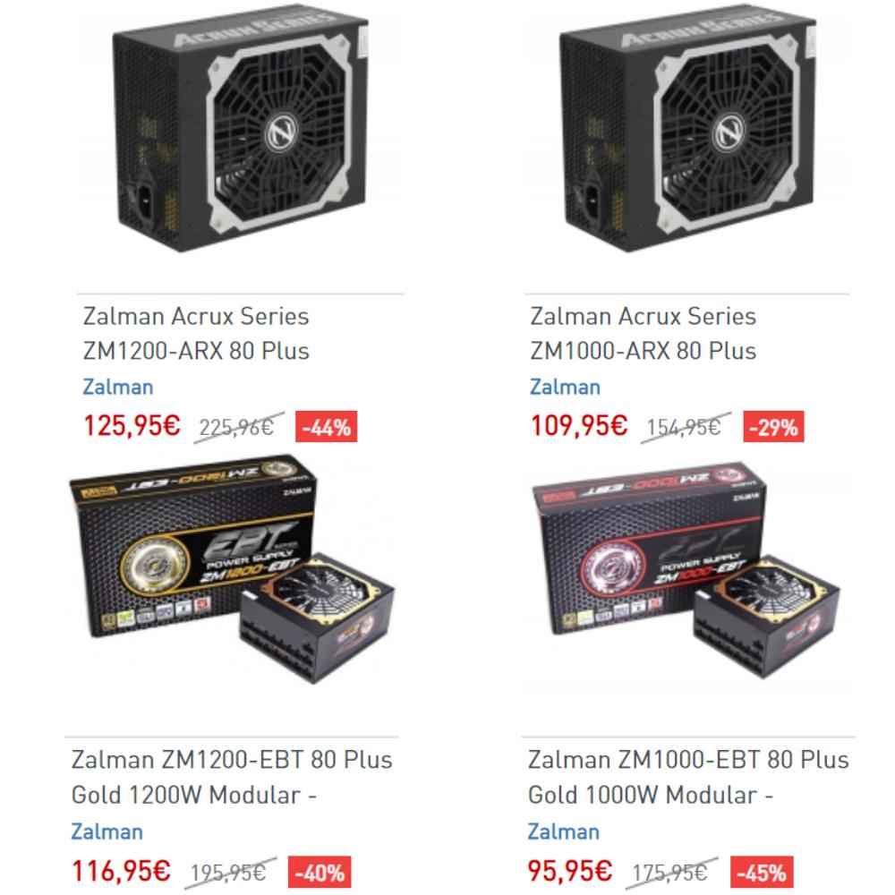 Zalman - Hasta -45% - Platinum 1000W/1200W (125/109€) y Gold 1000/1200W (116/95€)