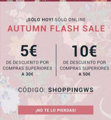 5 euros descuento si gastas 30 o 10 a los 50