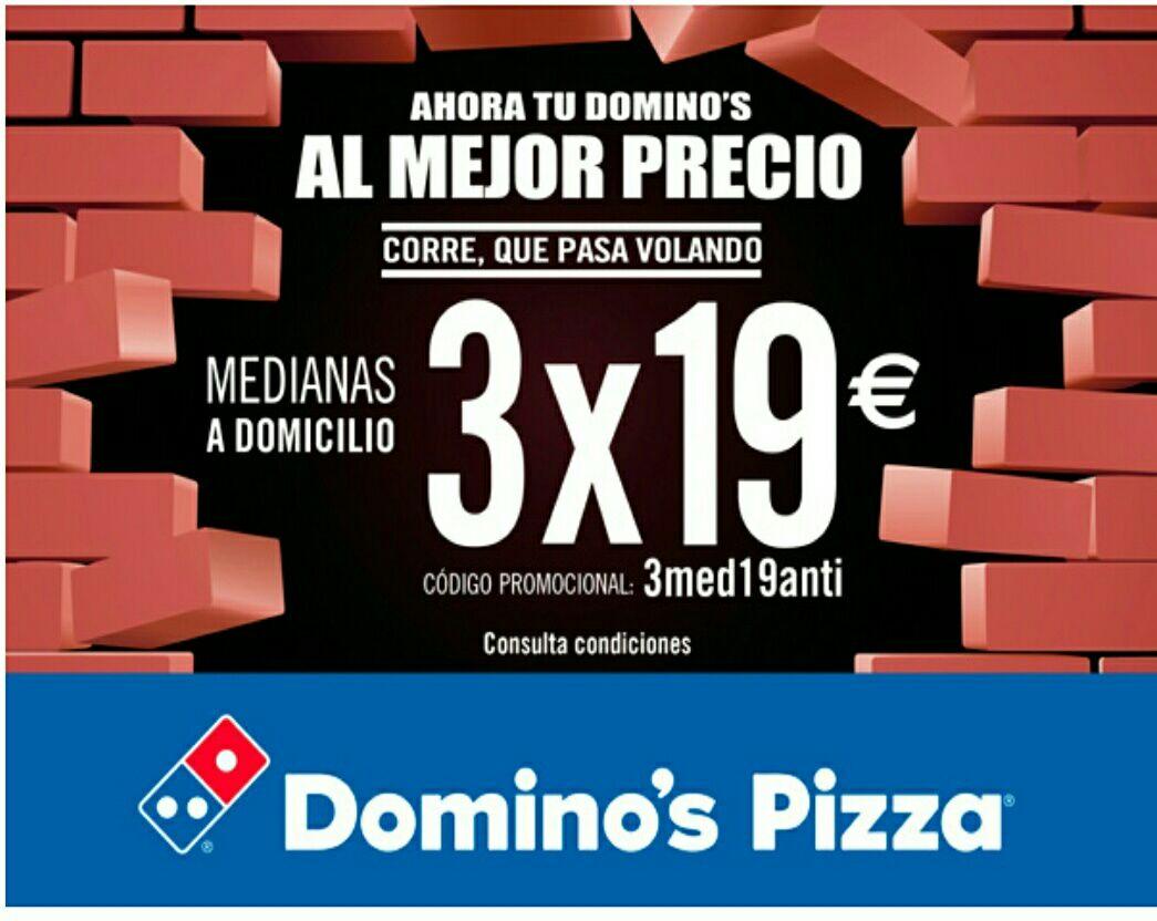 3 Pizzas Medianas a DOMICILIO por 19,00€