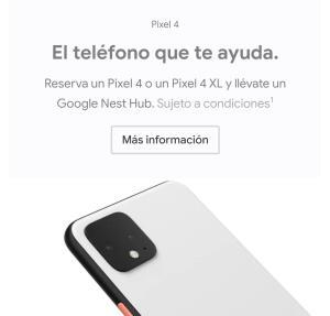 Nest hub de regalo reserva Pixel 4
