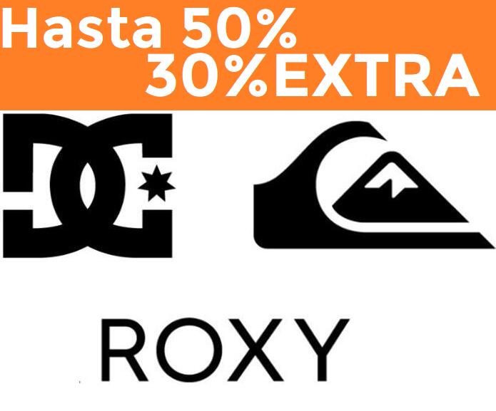 Hasta 50% + 30% EXTRA en Quiksilver, Roxy y DC