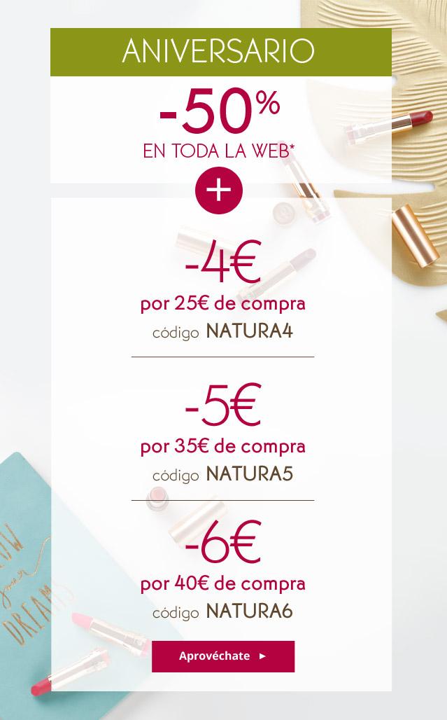 50% DESCUENTO EN YVES ROCHER Y ADEMAS 4€ , 5€ Y 6€ SEGUN IMPORTE DE COMPRA