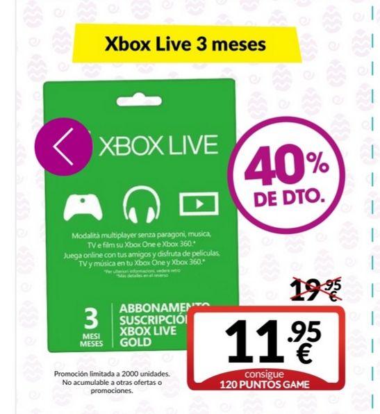 Subscripción Xbox Gold 3 rebajada
