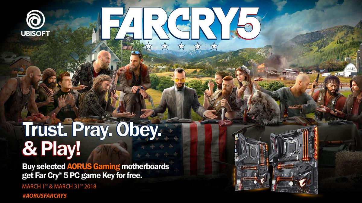 Far Cry 5 Gratis si actualizas o has actualizado a una placa base Aorus hasta 30 Abril