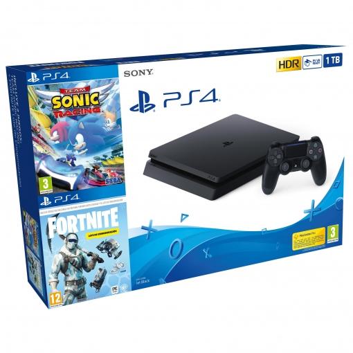 PS4 1TB+Team Sonic Racing+Lote criogenización Fortnite Carrefour