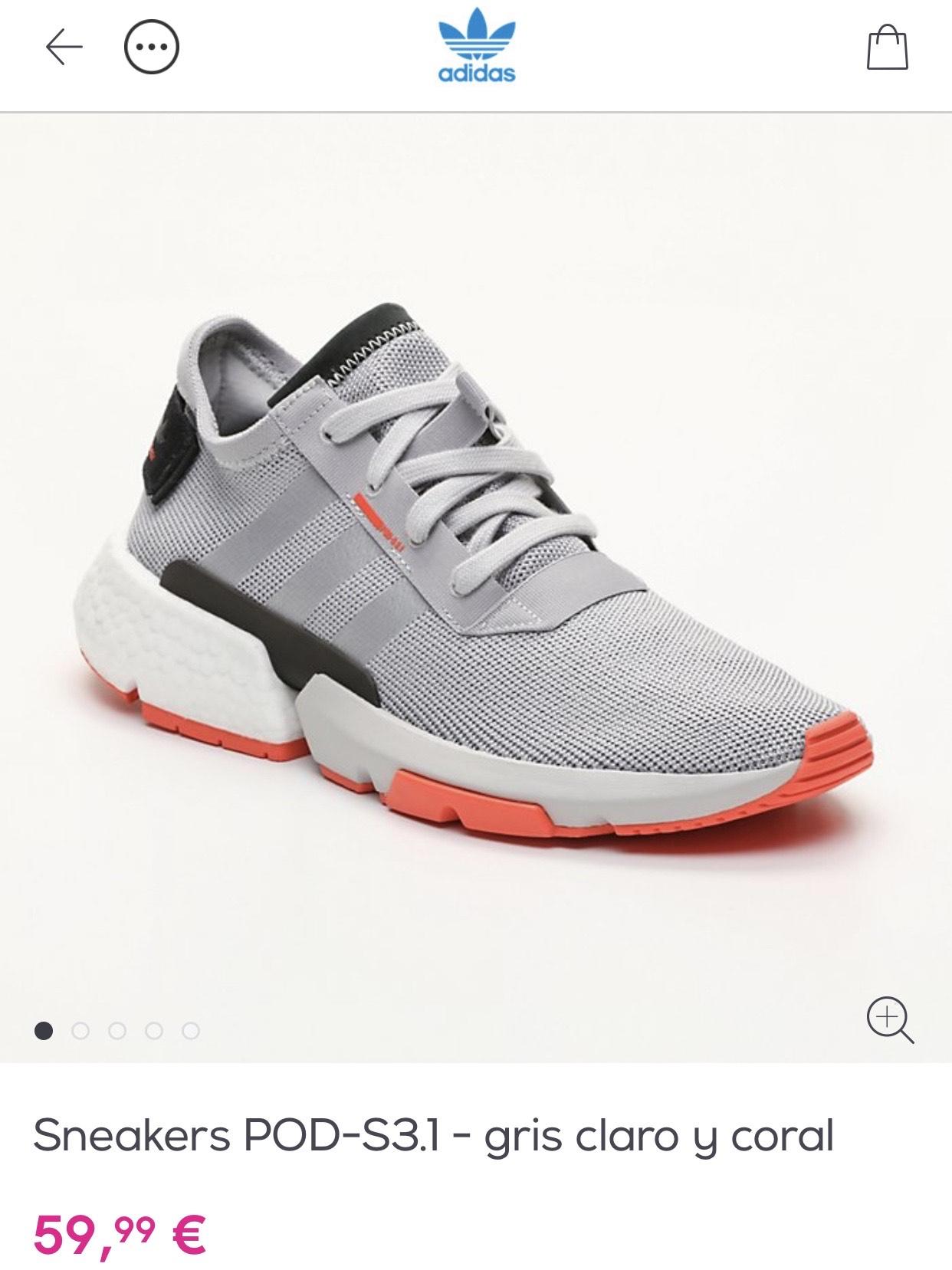 Sneakers adidas POD-S3.1 gris claro y coral