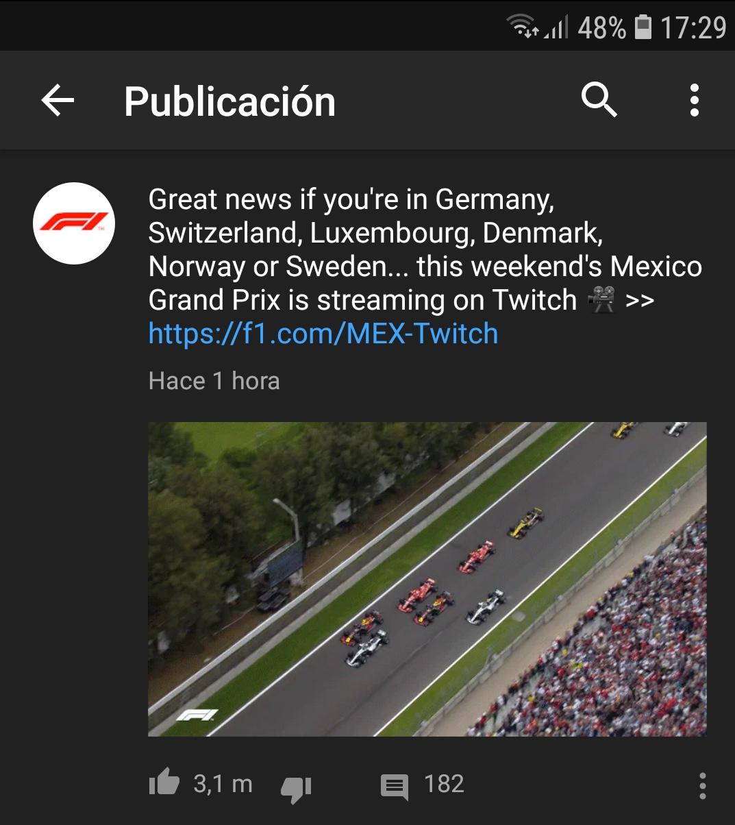 Gran Premio F1 México en Twitch (VPN)