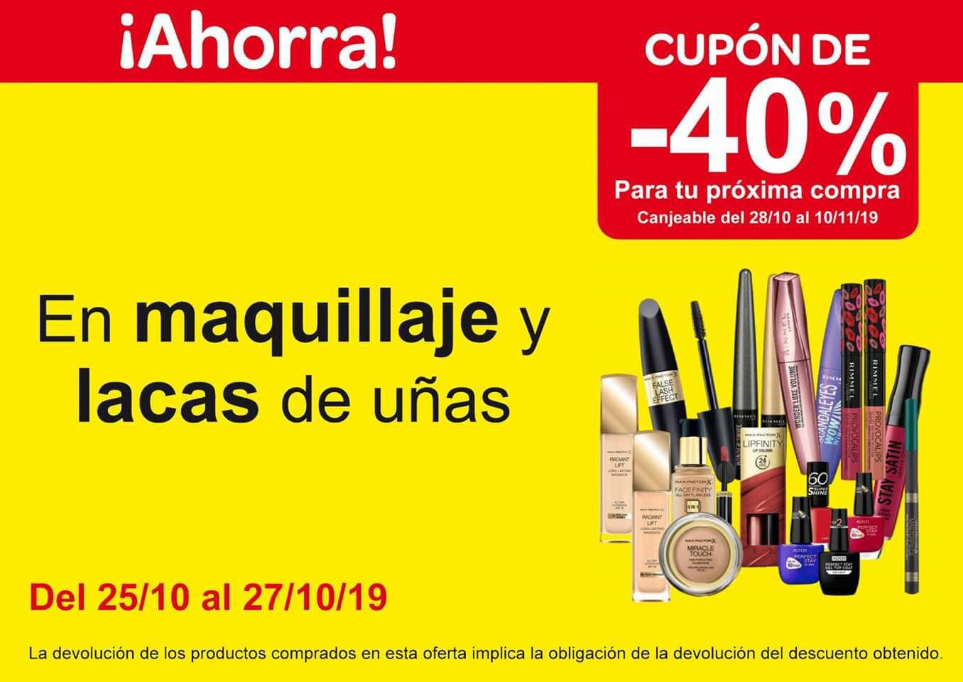40% en maquillaje y lacas uñas en cupón carrefour