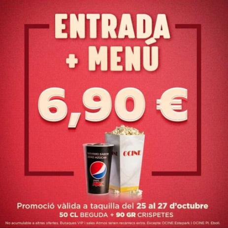 Entradas ocine - Entrada + menú 6.9€
