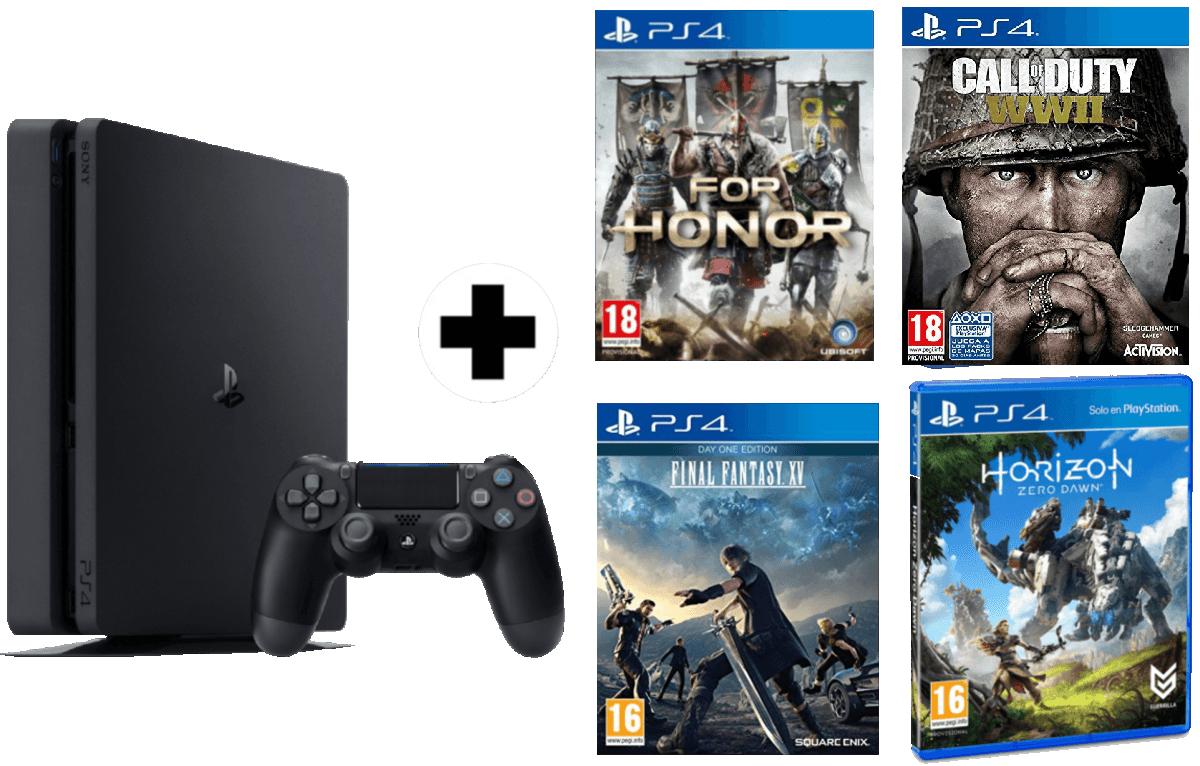 PS4 1TB + FOR HONOR + FINAL FANTASY XV + COD:WWII + HORIZON ZERO DOWN