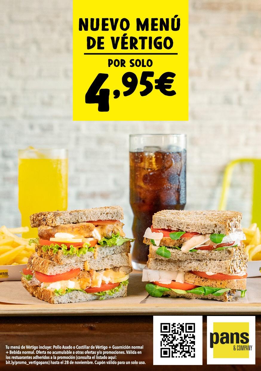 Nuevo menú de vértigo en el Pans & Company por solo 4,95€