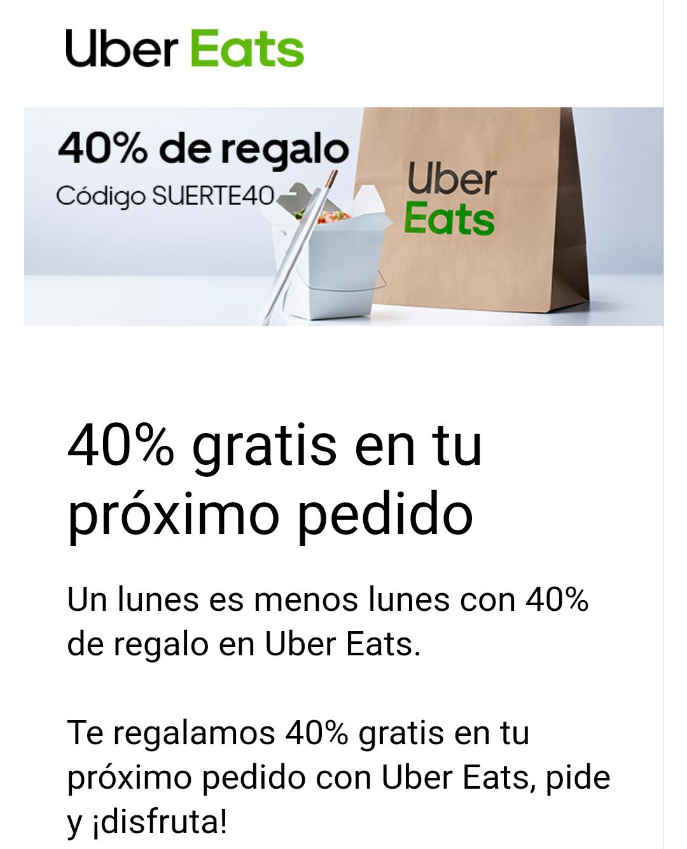 40% en Uber Eats CUENTAS SELECCIONADAS