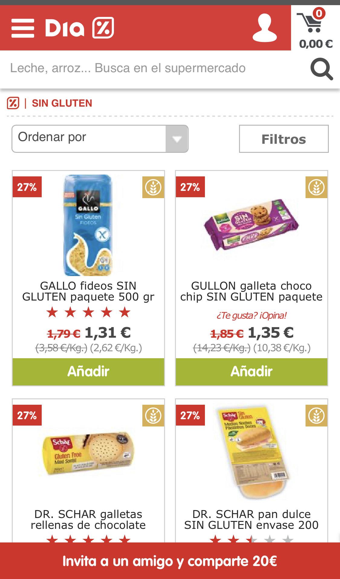 DIA rebaja de 27% en productos sin gluten