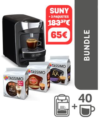 Pack cafetera Tassimo Suny Midnight Black + 40 bebidas