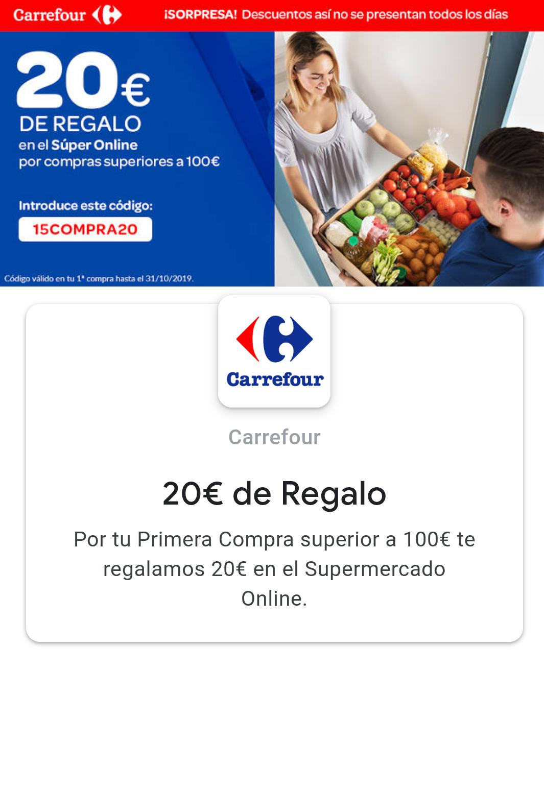 Descuento 20€ en Carrefour Online - Mínimo de 100€
