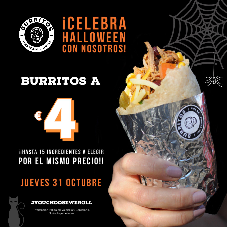 Burritos a 4 euros  en Ronda Sant Pere 16 en Barcelona y Ramón Llull 7 en Valencia