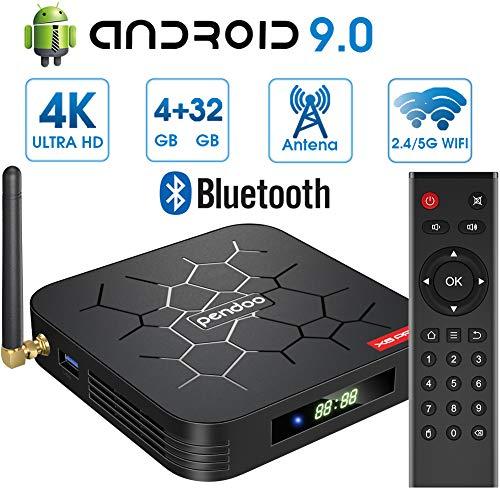 Android 9.0 TV Box 4GB RAM+32GB ROM Android TV Box, Dual-WiFi 2.4GHz / 5GHz H6 Bluetooth Quad Core 64 bits 3D / 4K Full HD Smart TV Box