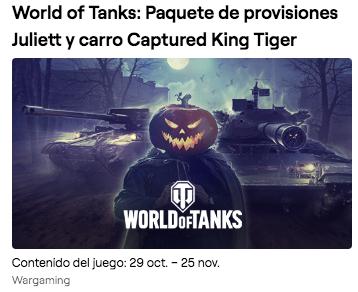 World of Tanks: Paquete de provisiones Juliett y carro Captured King Tiger en Twitch Prime