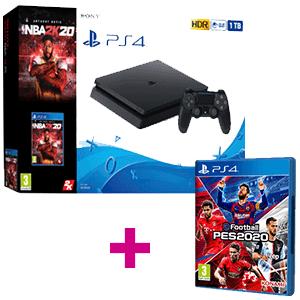 Playstation 4 1 TB + NBA 2K20 + PES 2020