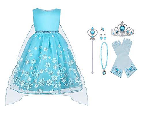 Vicloon - Disfraz de Princesa Elsa/Capa Disfraces/Belle Vestido y Accesorios para Niñas- Reino de Hielo