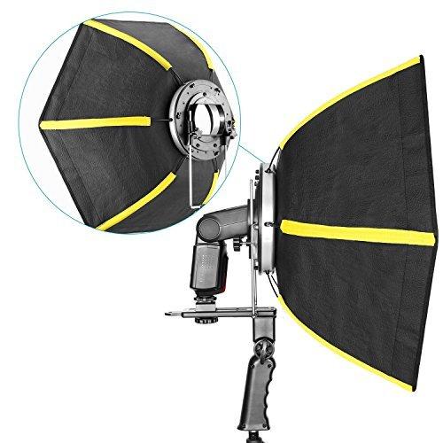 "Neewer 24""/ 60 cm Profesional Softbox difusor plegable Hexagonal con mango para flash Speedlight (negro/amarillo)"