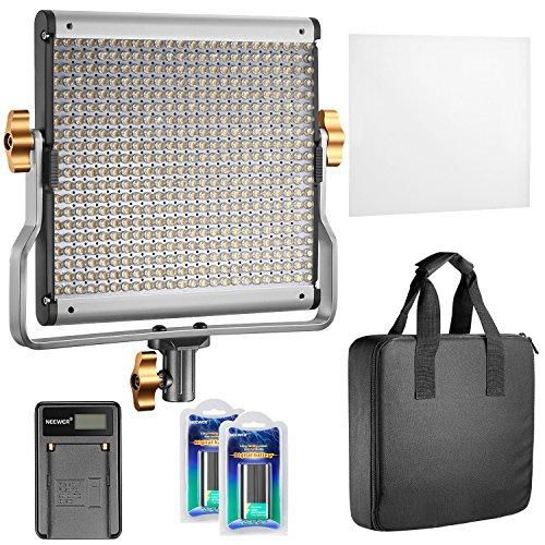 Neewer Regulable Bi-color 480 LED Video Luz CRI 96 + 3200-5600K con Soporte en U 2 Piezas de Batería Recargable de ion-litio