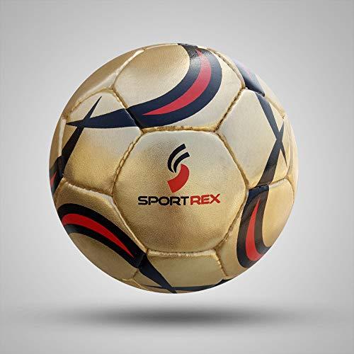 Sportrex Balón de fútbol de Calidad Suprema Profesional, tamaño 5, Cosido a Mano (Bolsa de Transporte de Malla de Malla y Aguja de Bombeo)