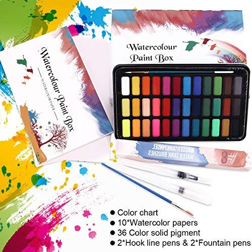 Set de Pinturas de Acuarela-50 Pzas Pintura de Acuarela Portatiles Set de Pinturas de Acuarela Sólida-36 Colores