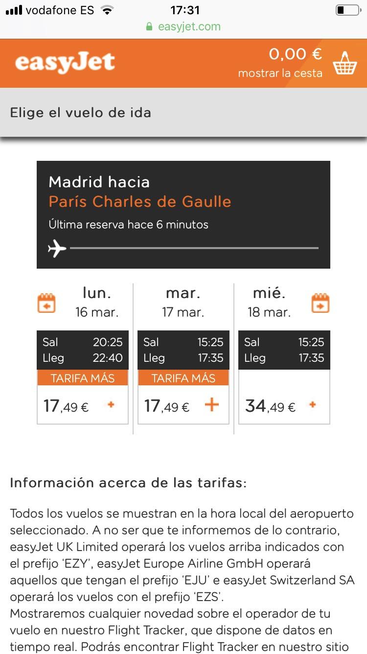 Vuelo Madrid- Paris CDG en marzo