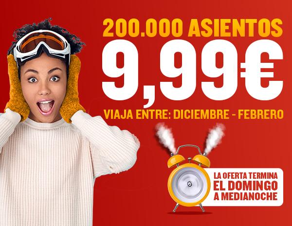 RYANAIR: 200.000 asientos a 9,99€ para viajar entre Diciembre y Febrero