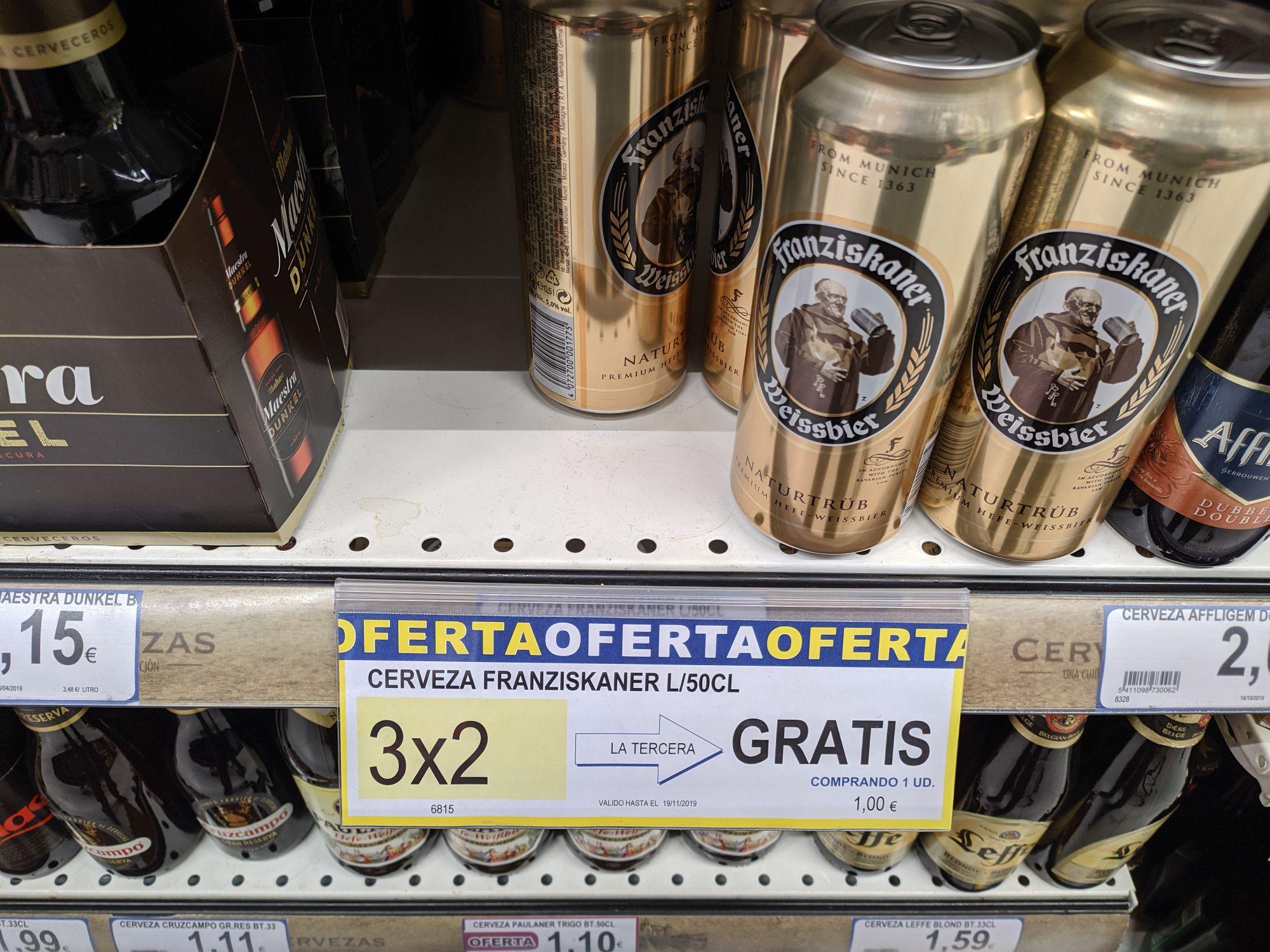 Cerveza Franziskaner 0.50l 3x2€ (Supermercados BM)