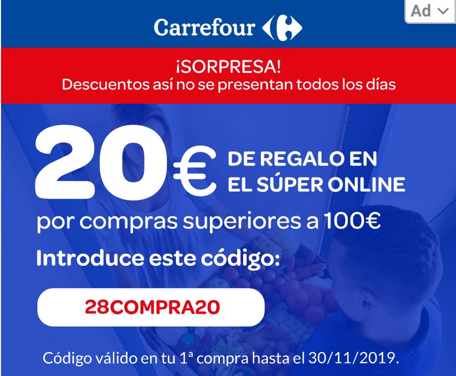 -20€ descuento compras +100€ (Carrefour)