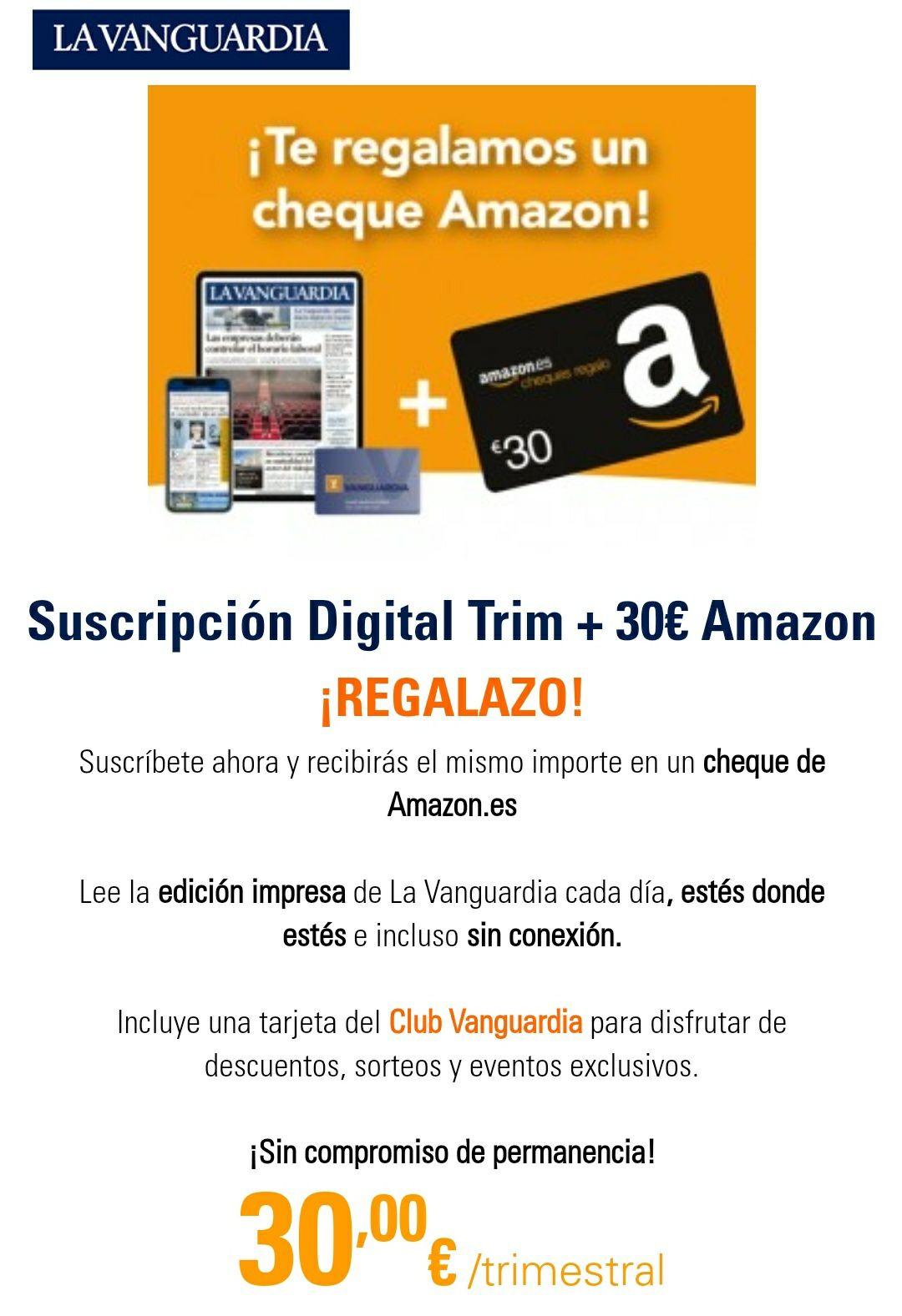 Cheque regalo Amazon 30€ La Vanguardia