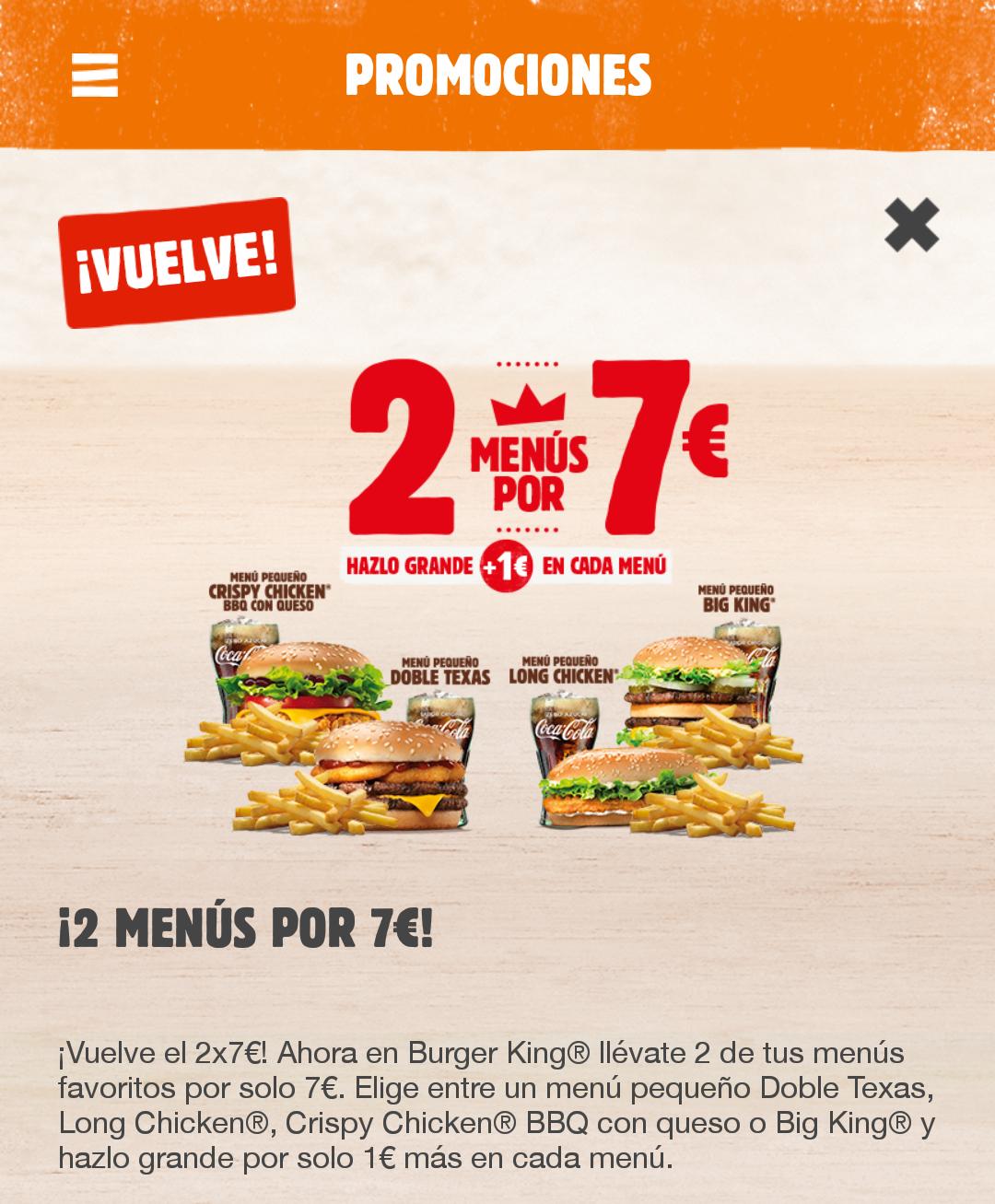 2 menus por 7€!! En burger King