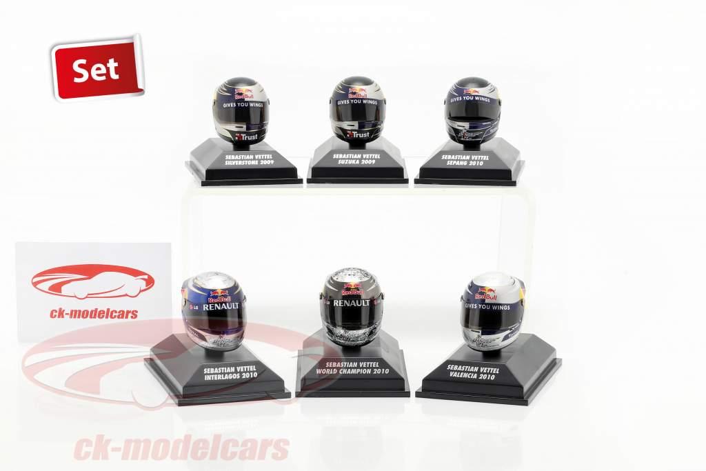 Set 6 cascos Sebastian Vettel Red Bull F1 colección 2009-2010 (escala 1:8 )